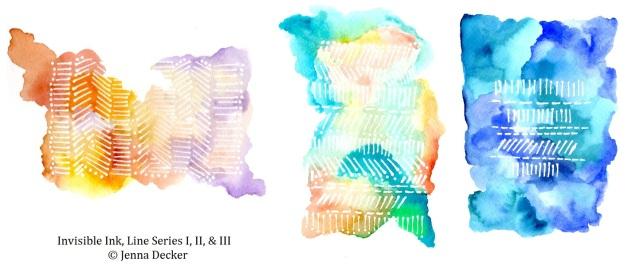 Invisible Ink, Line Series I, II, III Jenna Decker